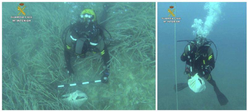 Fotos del GEAS de la guardia Civil con los restos humanos hallados.